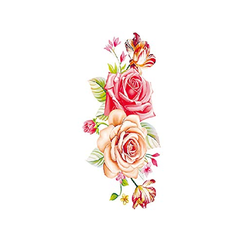 2Pcs-Blume Tattoo Sticker Damen Brust Bauch Kostüm Fotostudio Rose Pfirsich Pfingstrose Tattoo Sticker (Zelda Womens Kostüm)