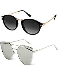 Sheomy UV 400 Protection Cellulose Acetate Metal Titanium Alloy Aviator Unisex Sunglass (GSUN-119, 55, Silver Mercury) -Combo of 2 Box