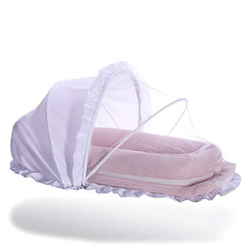 Réducteur de Lit Babynest Lit-bébé avec lit à baldaquin et Salle de Sport, Berceau pour Filles garçons, nid pour Dormir, Rose/Violet / Blanc, 115 × 52 cm (Couleur : Pink)