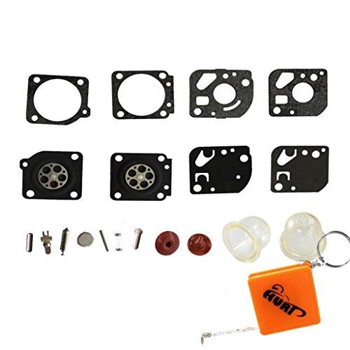 HURI Full Carburettor Carb Diaphragm Gasket Primer Bulb Check Valve Service  Kit for Ryobi Homelite, JCB, Ruixing