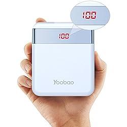 Yoobao M4Pro 10000mAh Cargador portátil Banco de teléfono móvil Batería externa ultra pequeña y compacta, entrada dual (relámpago y micro USB) Salida dual con Smart LED Digital Display para iPhone Samsung Galaxy Huawei etc-Azul