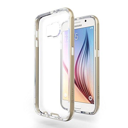 Azorm Handyhülle für Samsung Galaxy S6, Hybrid Edition Smartphone Hülle, Bumper Schutzhülle Anti-Rutsch und Kratzfest, Silikon Rückseite Transparent - Gold (Metalleffekt)