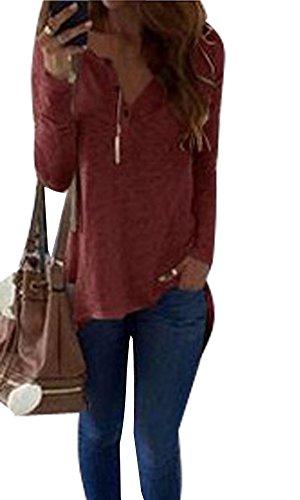 Minetom Damen Mode Schlank V-Ausschnitt Langarm Shirts mit Knöpfen Casual Lose Einfarbig Taste Dekoration Bluse Oberteil Tops Rotwein DE 34 (Langarm-taste Popeline)