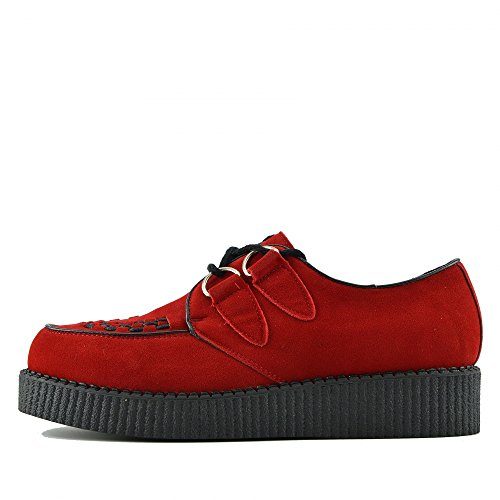 Kick Footwear Herren Flach Plateau Keil Schnüren Gothic Punk Leisetreter Creepers Schuhe Größe - UK 7/EU 41, Rot