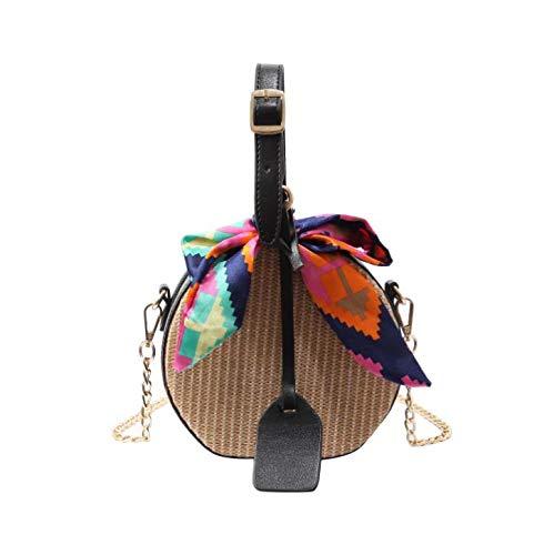 Bag-Haigeen Frauen Strohsack Umhängetaschen Für Mädchen Schals Runde Satteltasche Rattan Gewebt Schulter Messenger Lady Tote Handtasche Black