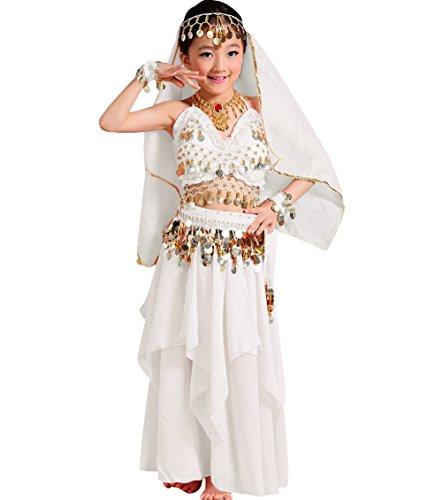 (Astage Mädchen Kleid Kinder Bauchtanz Halloween Karneval Kostüm-Sätze Weiß M)