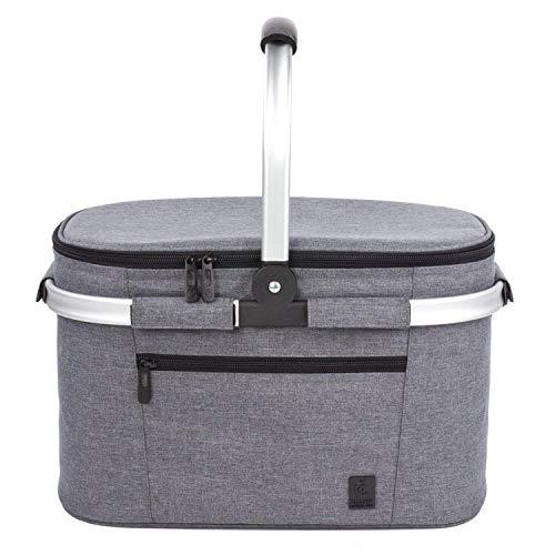 ALLCAMP familia aislada cesta de picnic,bolsa térmica Gris