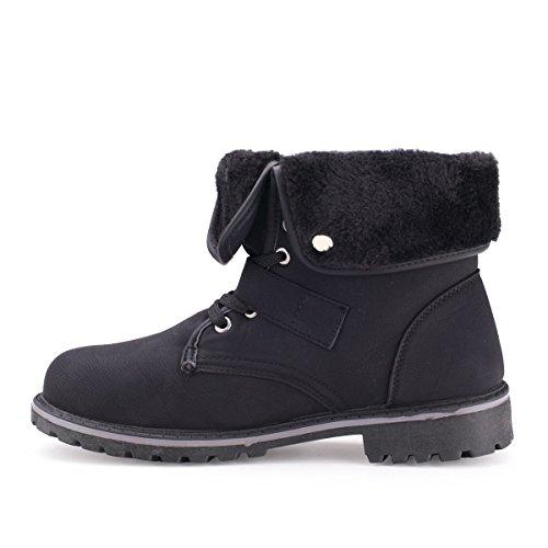 Damen Herren Boots Unisex Stiefeletten M5-black