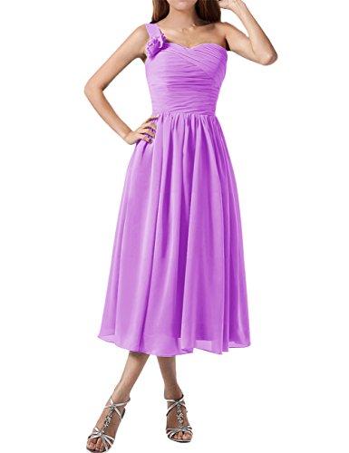 Find Dress Plissé Robe Soirée Grande Taille pour Cérémonie Femme Mariage avec Bretelle Asymétrique Robe Demoiselle d'Honneur Mi Longue Princesse Fête Noel Wedding Dress Lilas