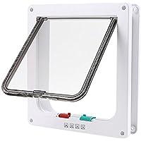 Puerta Magnetica(19*20*5.5cm), OIZEN 4-Modo puerta Bloqueable de Aleta para Gato Perrito Mascota Seguridad(M- Blanco)
