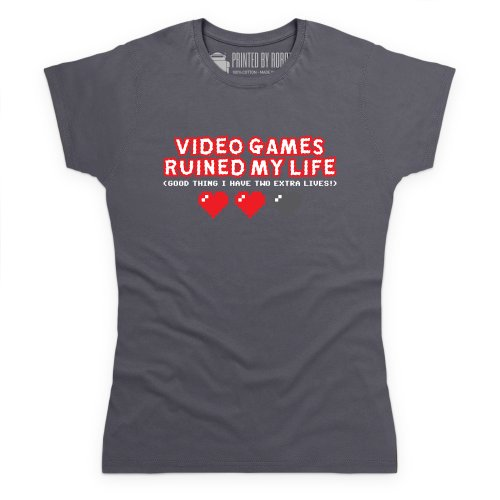 Video Games Ruined My Life T-Shirt, Damen Anthrazit