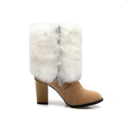 AllhqFashion Damen Reißverschluss Hoher Absatz Nubukleder Rein Niedrig-Spitze Stiefel, Weiß, 38