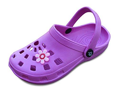 Kinder superleicht Hausschuhe Clogs Schlappen Badeschuhe Gummi Gartenclogs Clocks (35, Pink) (Blumen-mädchen-schuhe Billig)