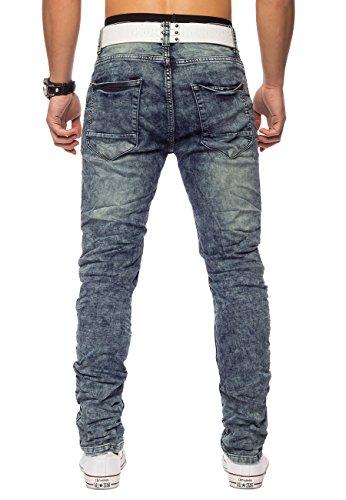 Jeans lavaggio acido Conques Uomo ID1420 Regular Fit Blau