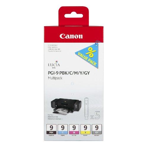 Canon PGI-9 PBK/C/M/Y/GY Original Tintenpatrone, Multipack je 14ml fotoschwarz, cyan, magenta, gelb, grau