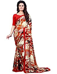 Anand Sarees Women's Faux Georgette Printed Orange Color With Blouse Piece ( 1333 )