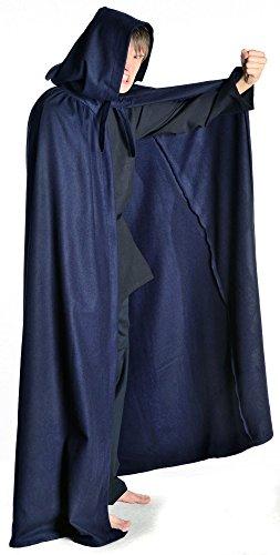 HEMAD Mittelalter Umhang mit Kapuze Wollfilz schwarz, braun, beige, rot, blau (One Size, braun) Blau