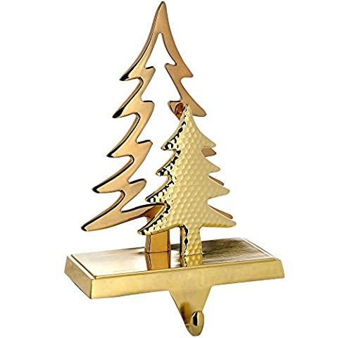 WeRChristmas Gold Plated Christmas Tree Stocking Holder Decoration, Metal - 18 cm, Gold