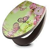 banjado - taupe Design Toilettendeckel WC Sitz Brille 36m x 5cm x 45cm mit Motiv Japanische Kirschblüte