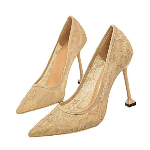 Damen Classic Fashion Spitzen Pumps Mesh Closed Toe Büro Lady High Heel Kleid Pumps - Zebra Formale Kleider
