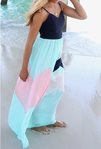 ASSKDAN Femmes Maxi Longue Robe Imprimé à Bretelle sans Manche Robe de plage d'été Bleu