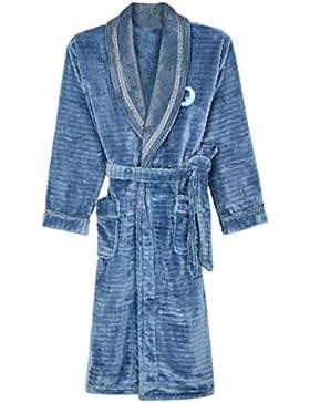 PFSYR Camisón de franela para hombres, Pijamas gruesos y cálidos Albornoz Ropa de casa casual cómoda
