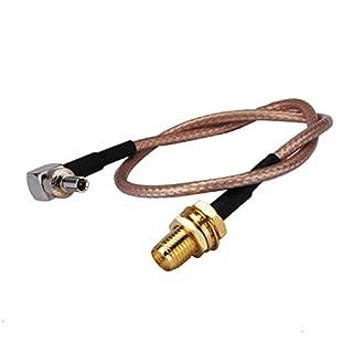 adaptare 60692 15 cm Antennen-Pigtail CRC9-Winkel-Stecker / RP-SMA-Einbaukupplung