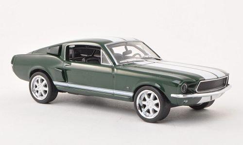 ford-mustang-fastback-dkl-grun-weiss-fast-furious-1967-modellauto-fertigmodell-greenlight-143