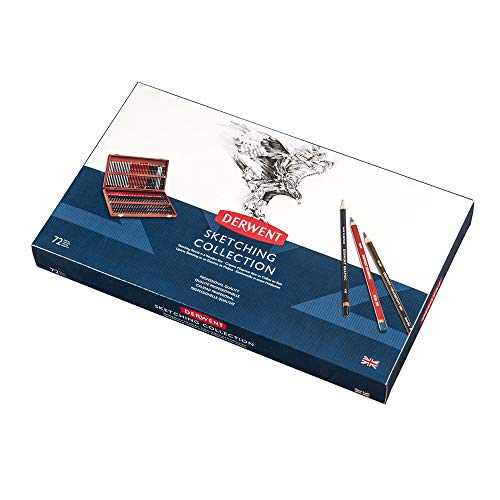 Derwent 2301902 Sketching Collection, Set of 72 Pencils in a Wooden Gift Box, Professional Quality, Multicolor