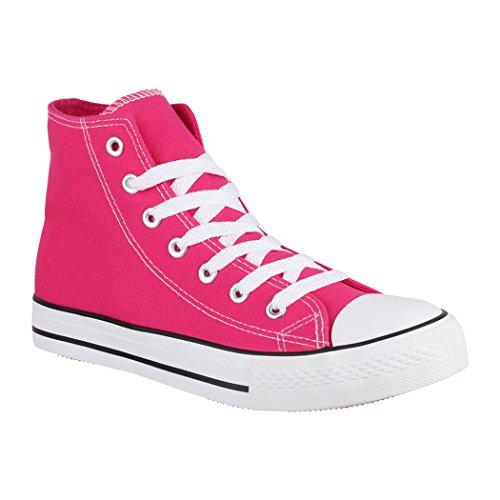 Elara Unisex Sneaker | Bequeme Sportschuhe für Damen und Herren | Low Top Turnschuh Textil Schuhe Chucks-Hoch-1 XG201 Fuchsia-41