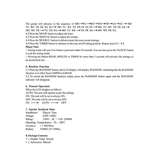 Lorsoul Digital-Timer-Schalter-Stecker Küchen-Timer Steckdose 230V 50 Hz 12/24 Stunden Programmierbare Zeit Sockel EU-Stecker Frankreich Norm -
