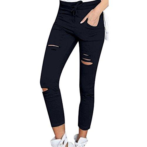 hippolo Donna Sottile Ripped alto Taille strecken matita pantaloni nero nero s Blau