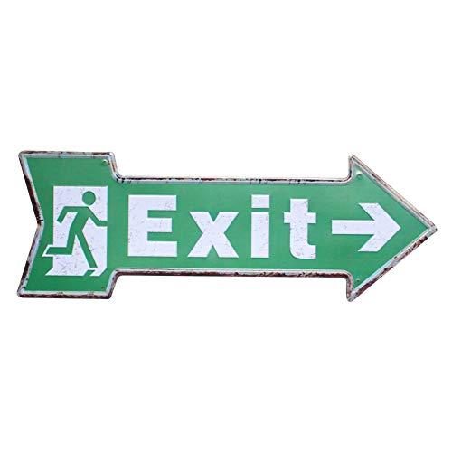 Lumanuby 1x 'Exit' Metall Zeichen für Geschäft oder öffentliche Bereiche Kreative Pfeil Form Wandschild mit Laufende Person Bild Türschilder für Bar Club Pub Café oder Restaurant, Bar Sprüche Serie - Metall Pfeil-zeichen