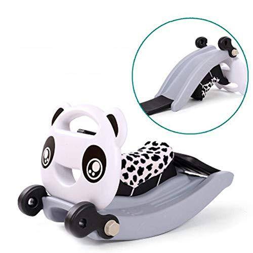 Rocking Horse Nattou Schaukeltiere,Kind Schaukelpferd Panda Baby Slide Und Schaukelstuhl Für Baby 1-6Year Kleinkind Rocker Chair Indoor-Outdoor-Kunststoff-Spielzeug,ABlack