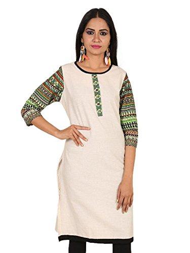 Erica Designer Multicoloured A-Line Cotton 3/4 Sleeves Kurti for Women
