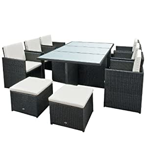 gartenmoebel bali essgruppe garten moebel tisch mit 6 stuehlen und 4 hocker incl. Black Bedroom Furniture Sets. Home Design Ideas