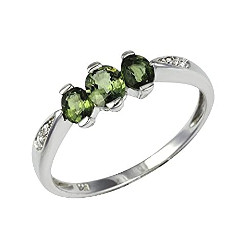Ivy Gems Sterling Silver Green Sapphire and Diamond Three Stone Ring