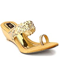 Rimezs Gold Toe Ring Open Back Embellish Wedges Sandal For Women And Girls
