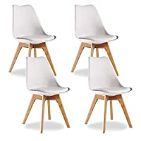 P&N Homewares® Lorenzo Tulip Chair Plastic Wood Retro Dining Chairs White Black Grey Red Yellow Pink Green Blue (SET OF 4) (WHITE)