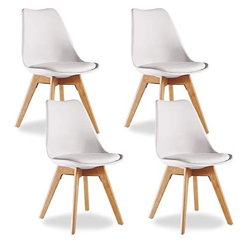 P&N Homewares® Lorenzo Tulip Stuhl Kunststoff Retro Esszimmer Stühle weiß schwarz grau rot gelb pink grün blau (Set von 4) weiß -