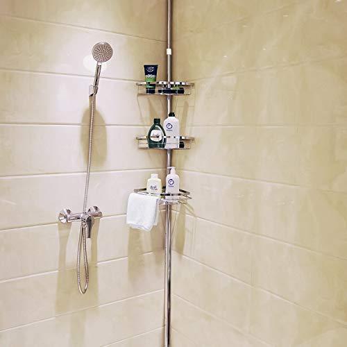 Lifewit Teleskop Duschregal Duschablage Badregal mit höhenverstellbaren Körben für Shampoo/Conditioner/Duschgel/Seife