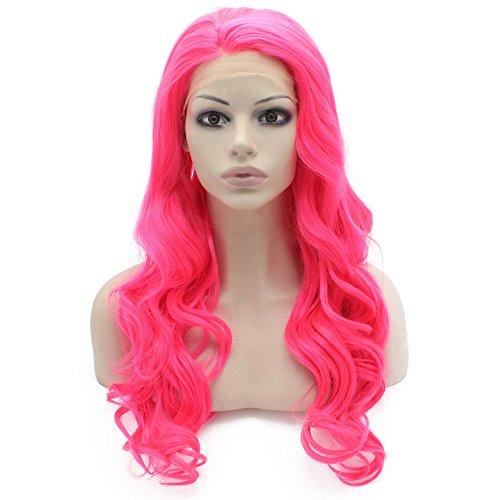 Iwona lang gewellt Celebrity Lace Front Half Hand auf hitzebeständiges Kunsthaar Hot Pink Cosplay Party (Perücke Hot White)