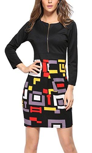 Fortuning's JDS Stilvolle Geometrie Bodycon lange Ärmel Rundhals Reißverschluss auf Design Reich Taille Minikleid für Frau, S-3XL Europa Größe, (Silhouette Definition Kostüm)