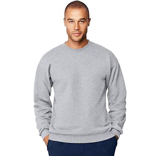 Hanes Men's Ultimate Fleece Crewneck Sweatshirt, Ash, Small Poly Crewneck Fleece Sweatshirt