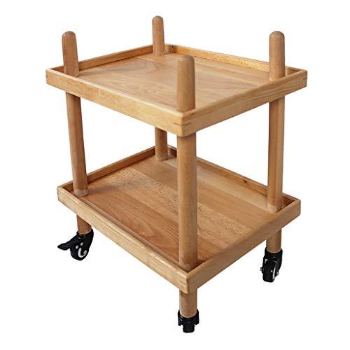 Carrelli di servizio 2 strati Carrello da cucina Supporto in legno Vassoio  in legno massello 4 ruote universali con ruote di bloccaggio per cucina, ...