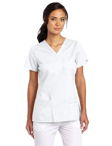 4x Tops Scrub (Dickies Women's Scrubs Gen Flex Junior Fit Solid Stitch V-Neck Top, White, 4X-Large)