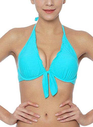 Futurino Damen V-Ausschnitt Selbst-Bindung Bikini Top mit Schnürung Türkis