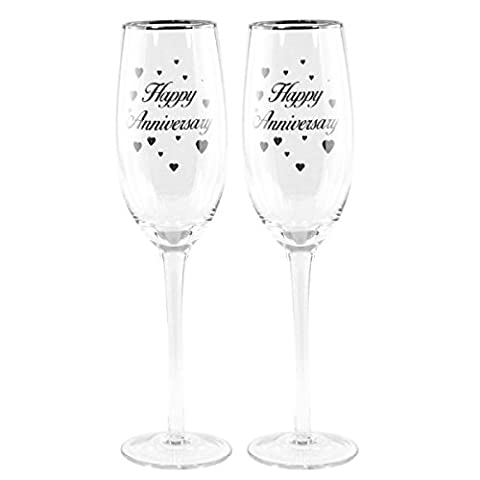 Wedding Champagne Flutes Happy Anniversary