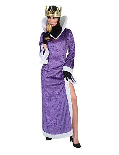Karnevalsbud - Damen Frauen Kostüm, böse Königin Ballkleid, Angry Queen perfekt für Halloween Karneval und Fasching, XL, Violett