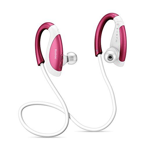 Yoobao YBL-110 Bluetooth Auriculares Deportivos en Ooreja Auriculares Bluetooth 4.1 Micrófono Incorporado y Cancelación de Ruido CVC 6.0, IPX4 A Prueba de Sudor Auriculares Auricular Inalámbrico al Aire Libre para iphone, Samsung Galaxy, HTC, Sony, Huawei y más-Rojo